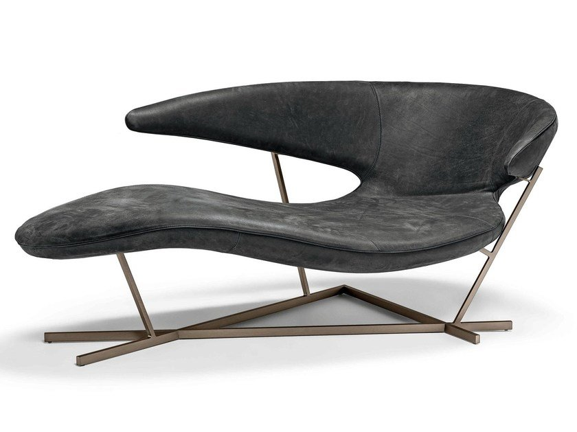 Leather Chaise longue MANTA by Arketipo