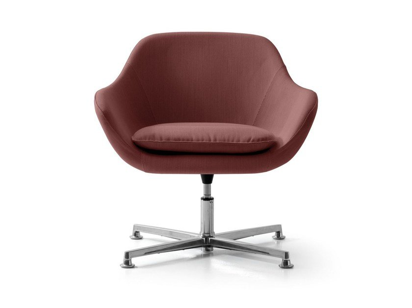 Swivel fabric armchair with 4-spoke base with armrests MANTA | Swivel armchair by Quinti Sedute