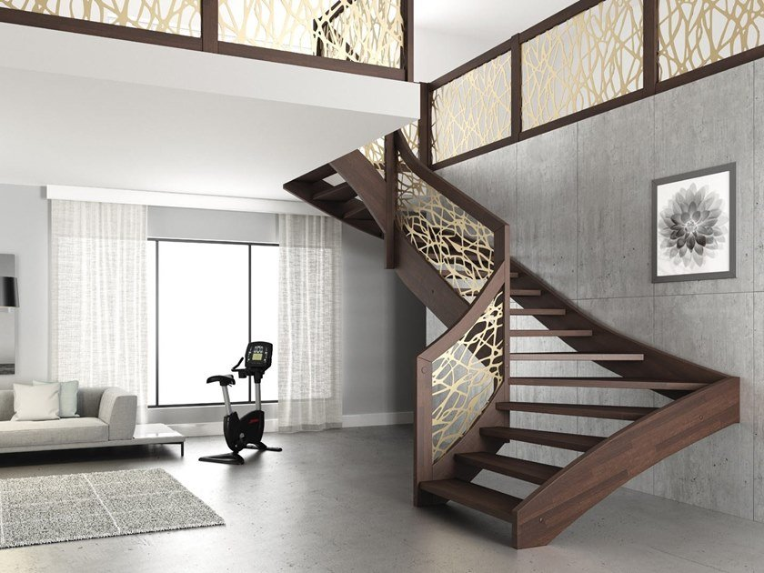 Wooden Open staircase with lateral stringers MANTIS by MOBIROLO