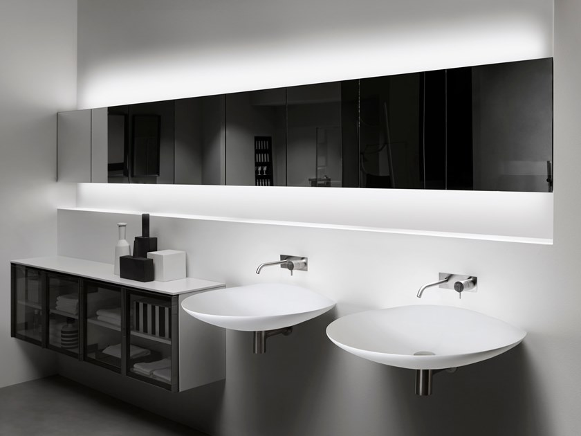 Suspended bathroom wall cabinet with mirror MANTRA by Antonio Lupi Design