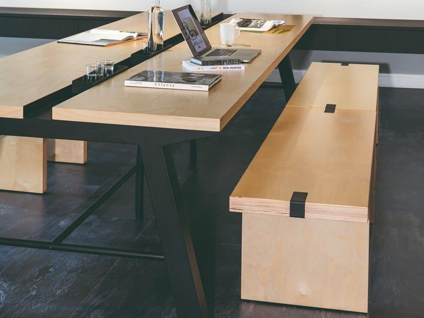 Wood-product bench MANU 06 by Manganèse Éditions