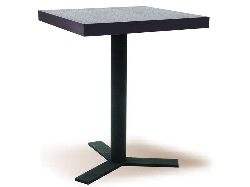 Square table with 3-star base MANU 08 by Manganèse Éditions