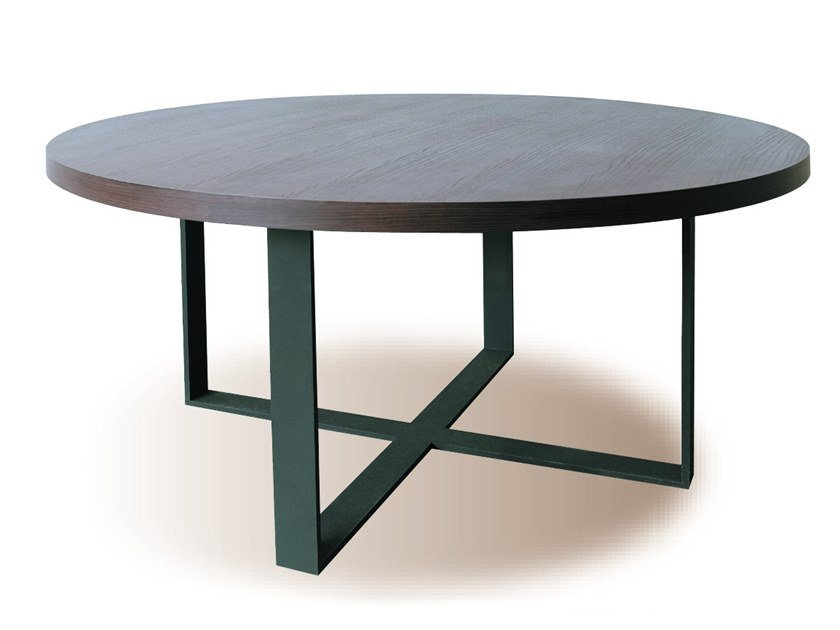 Round wood veneer table MANU 09 by Manganèse Éditions