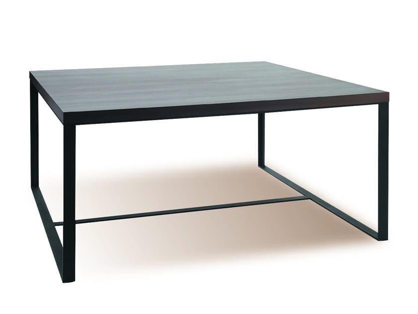 Rectangular wood veneer table MANU 10 by Manganèse Éditions