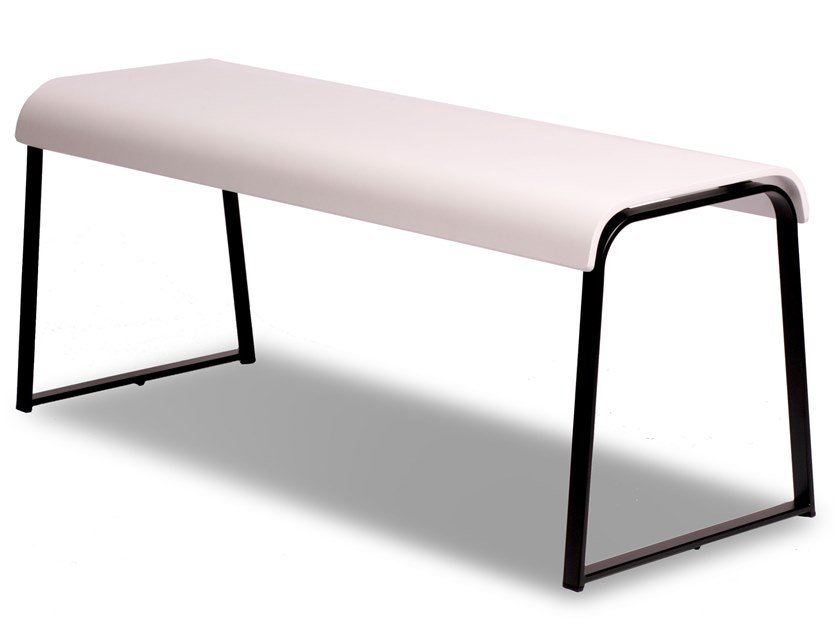 Lacquered beech bench MANU 17 by Manganèse Éditions