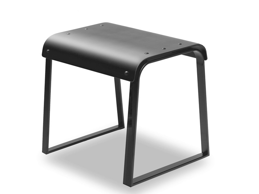 Low sled base plate stool MANU 23 by Manganèse Éditions