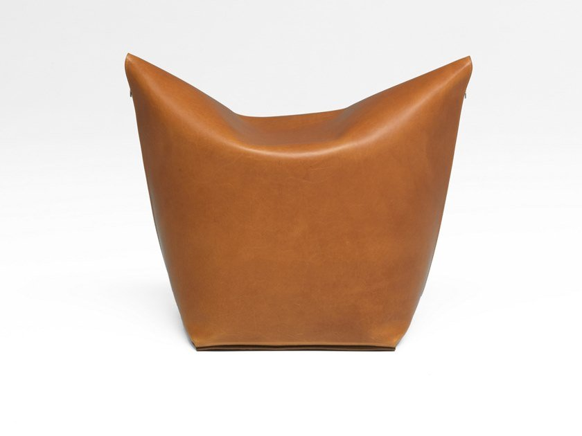Upholstered tanned leather pouf MAO | Tanned leather pouf by ManifestoDesign