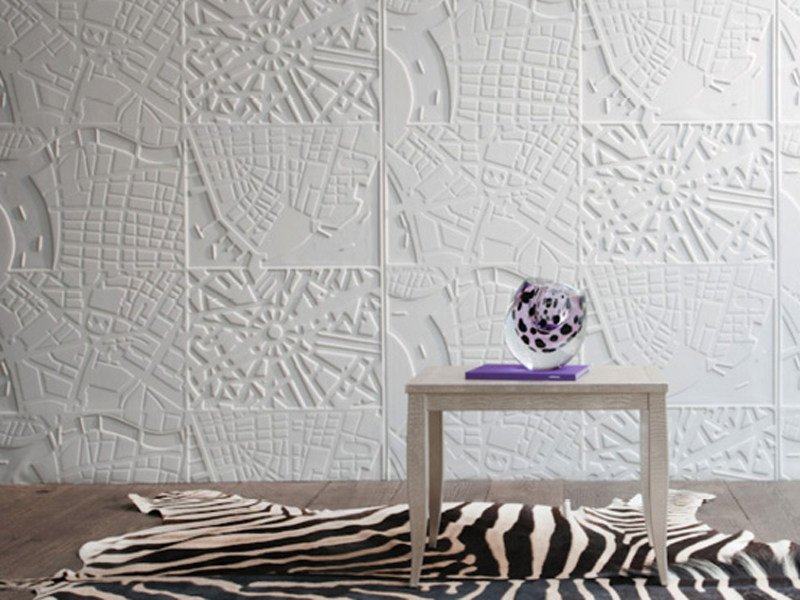 Synthetic material wall tiles MAPS by Élitis