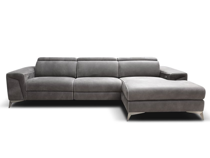 Divano reclinabile in pelle con chaise longue MARA | Divano con chaise longue by Rossini Sofas