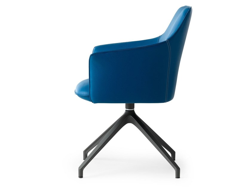 Upholstered fabric chair with armrests MARA | Trestle-based chair by LEOLUX