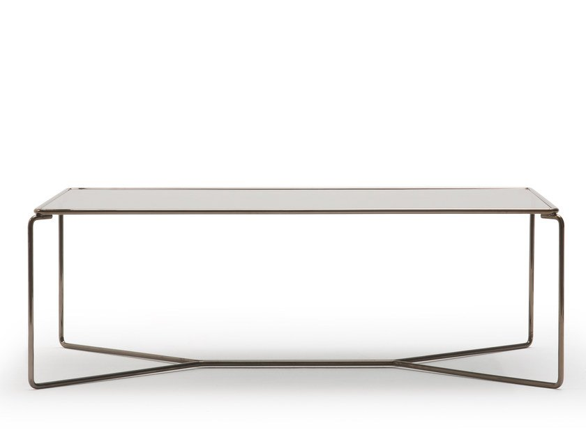 Rectangular glass and steel coffee table MARCEL | Rectangular coffee table by BILLIANI