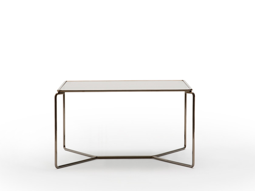 Square Glass And Steel Coffee Table MARCEL | Square Coffee Table By BILLIANI