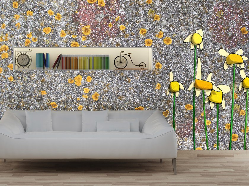 Pop art wallpaper with floral pattern MARGHERITE by Mat&Mat