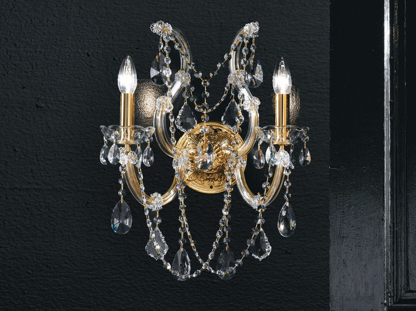 Direct light incandescent metal wall light with crystals MARIA TERESA VE 938 | Wall light by Masiero