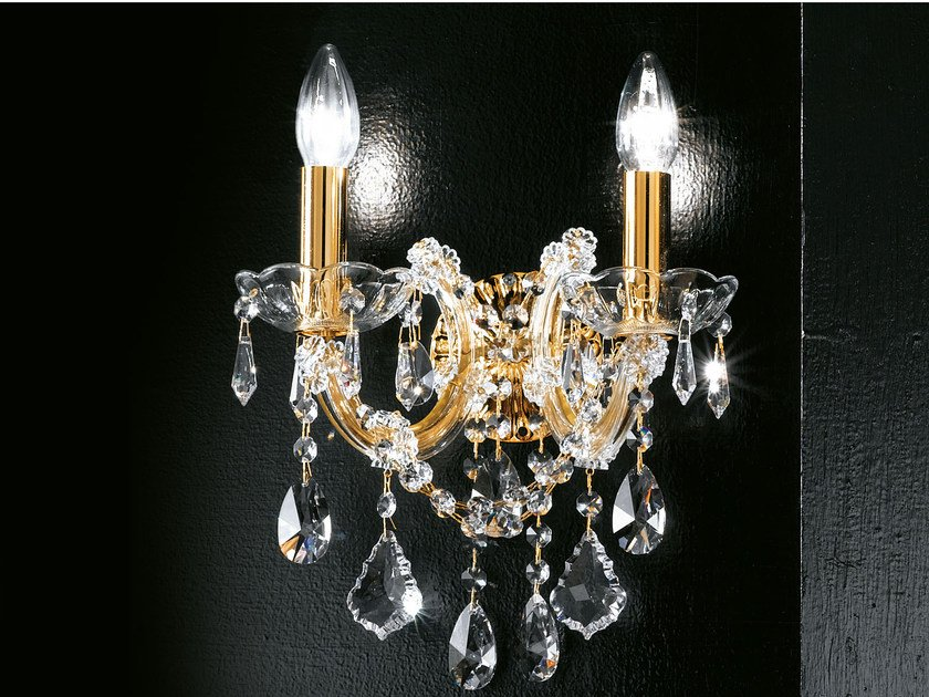 Direct light incandescent metal wall light with crystals MARIA TERESA VE 944 | Wall light by Masiero
