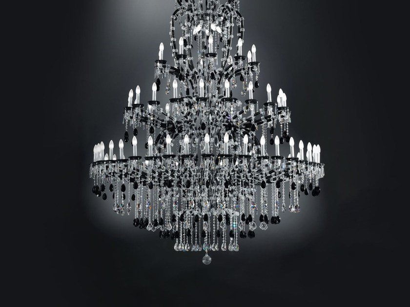 Direct light painted metal chandelier with crystals MARIA TERESA VE 900 by Masiero