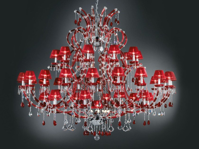 Direct light painted metal chandelier with crystals MARIA TERESA VE 904 by Masiero