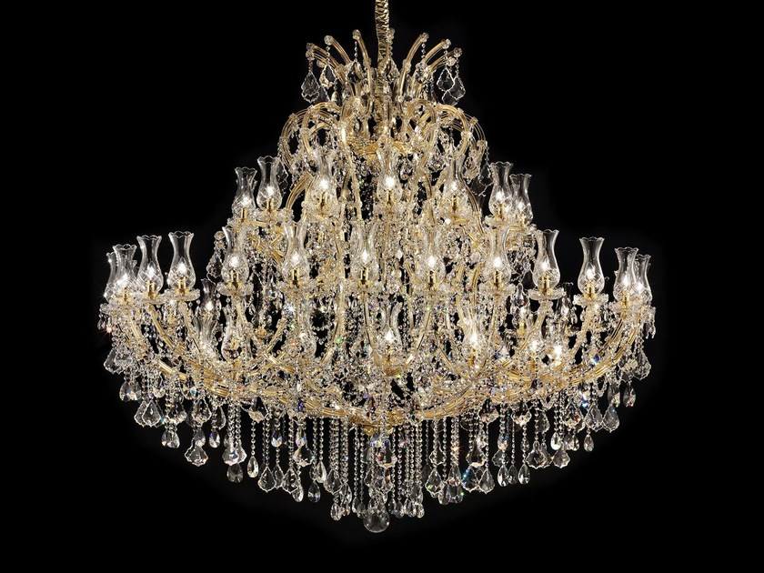 Direct light painted metal chandelier with crystals MARIA TERESA VE 905 by Masiero