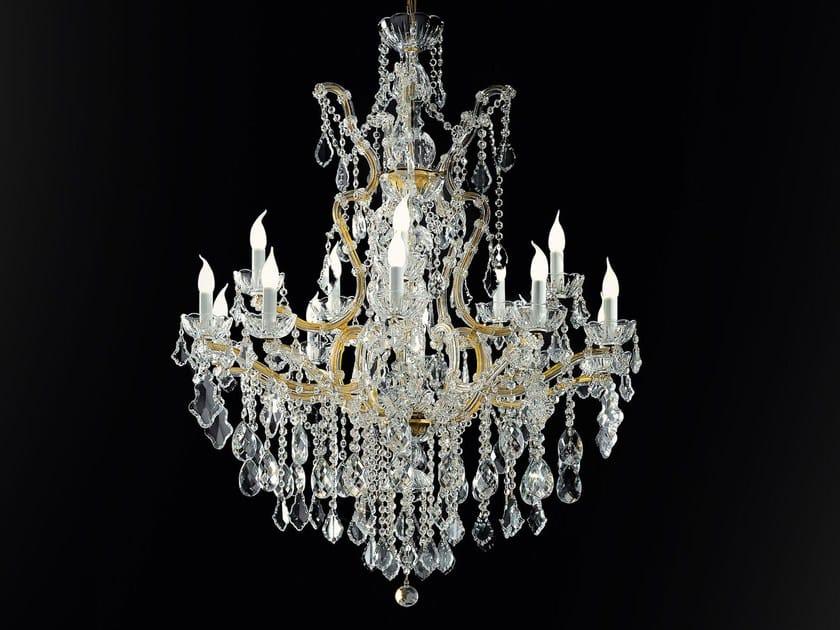 Lampadario a luce diretta in metallo verniciato con cristalli MARIA TERESA VE 908 by Masiero