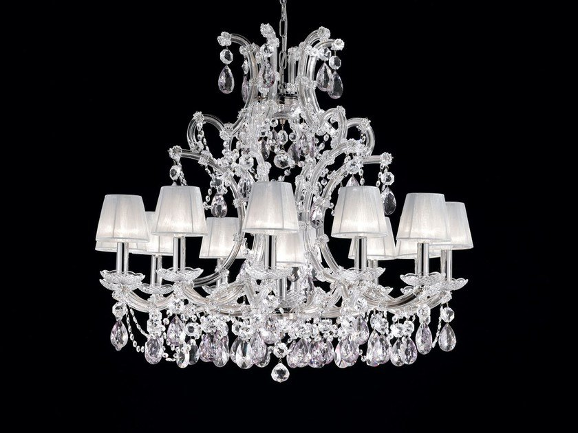 Direct light painted metal chandelier with crystals MARIA TERESA VE 914 by Masiero
