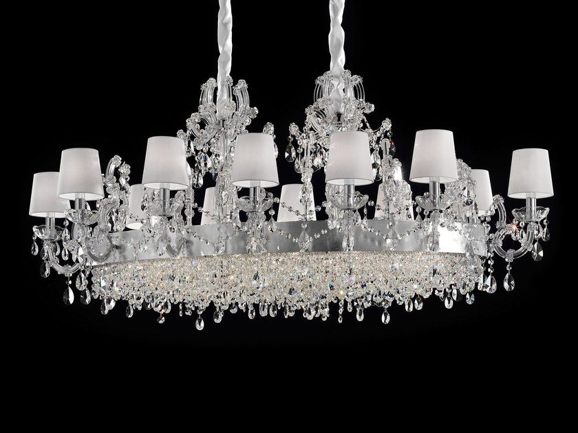 Direct light painted metal chandelier with crystals MARIA TERESA VE 921 | Pendant lamp by Masiero