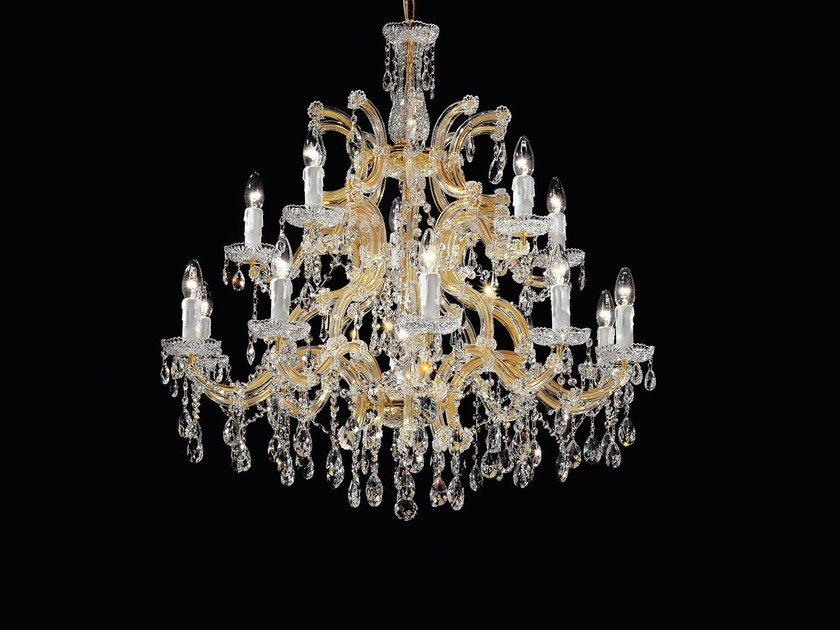 Direct light painted metal chandelier with crystals MARIA TERESA VE 922 by Masiero