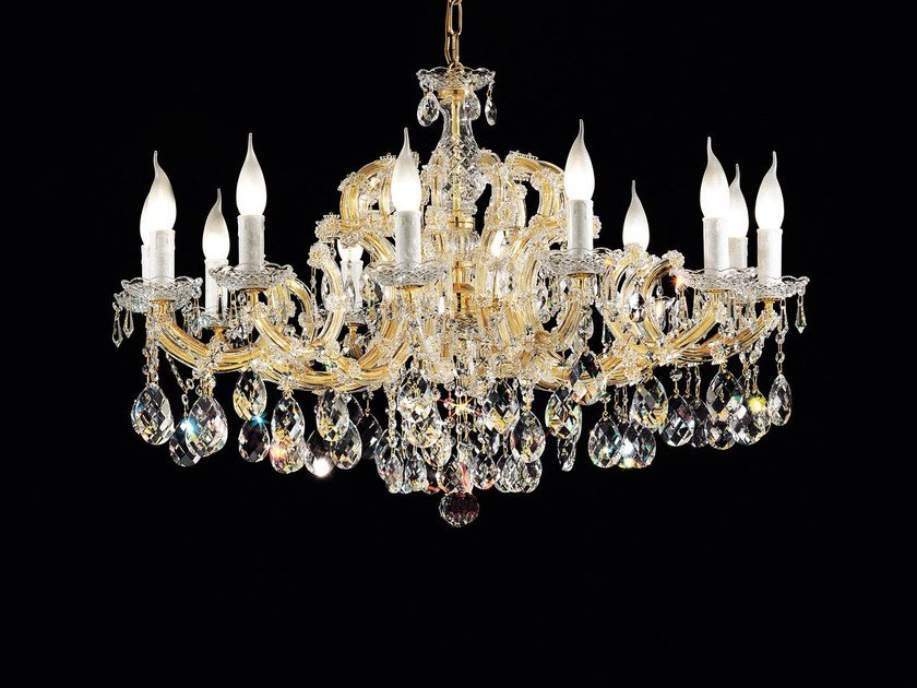 Direct light painted metal chandelier with crystals MARIA TERESA VE 930 by Masiero