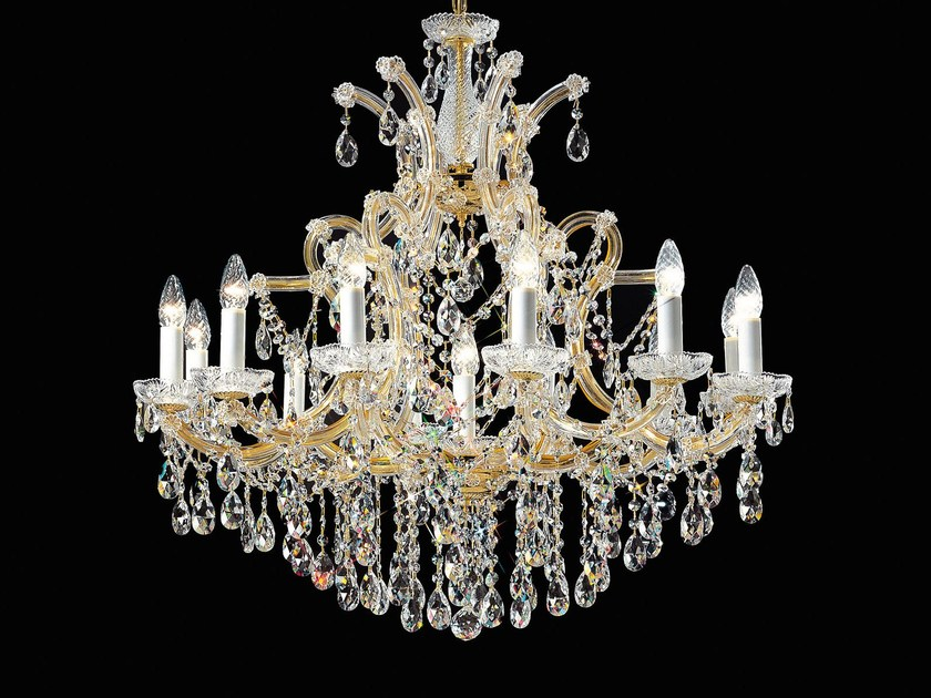 Direct light painted metal chandelier with crystals MARIA TERESA VE 934 by Masiero