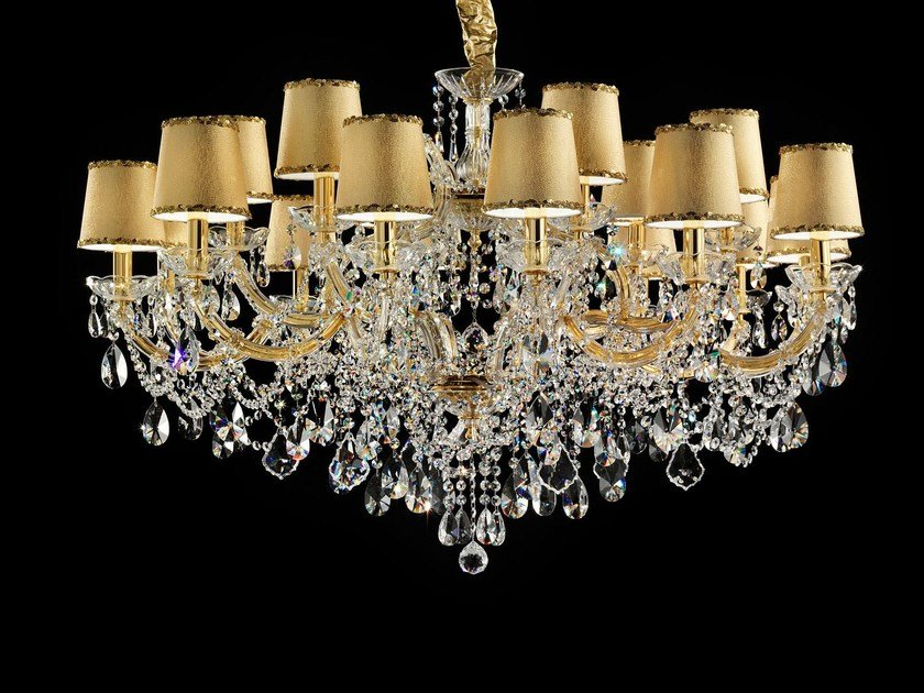 Direct light painted metal chandelier with crystals MARIA TERESA VE 950 18 by Masiero