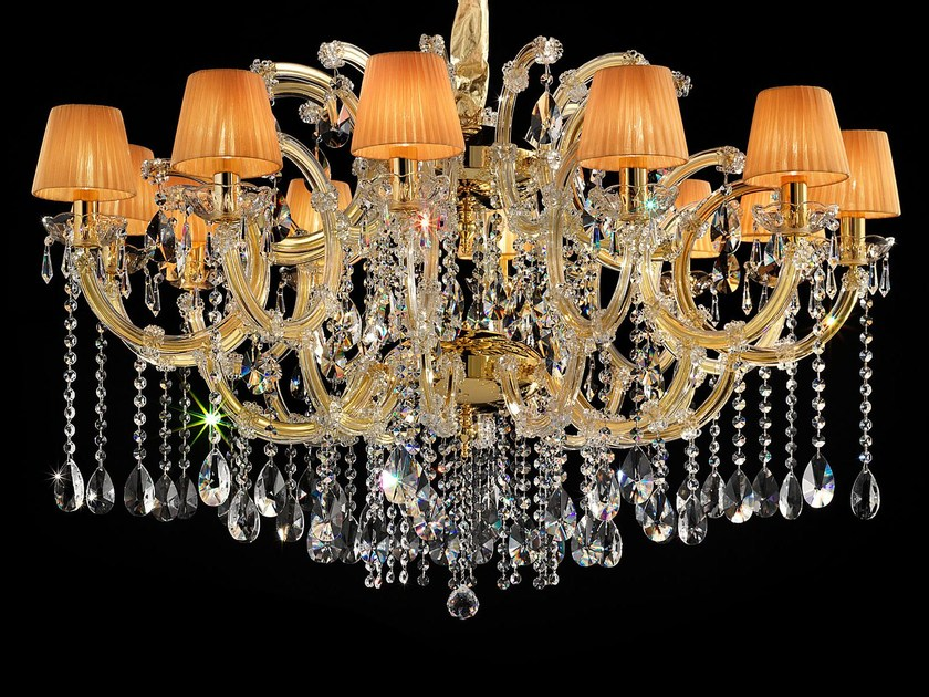 Direct light painted metal chandelier with crystals MARIA TERESA VE 981 by Masiero