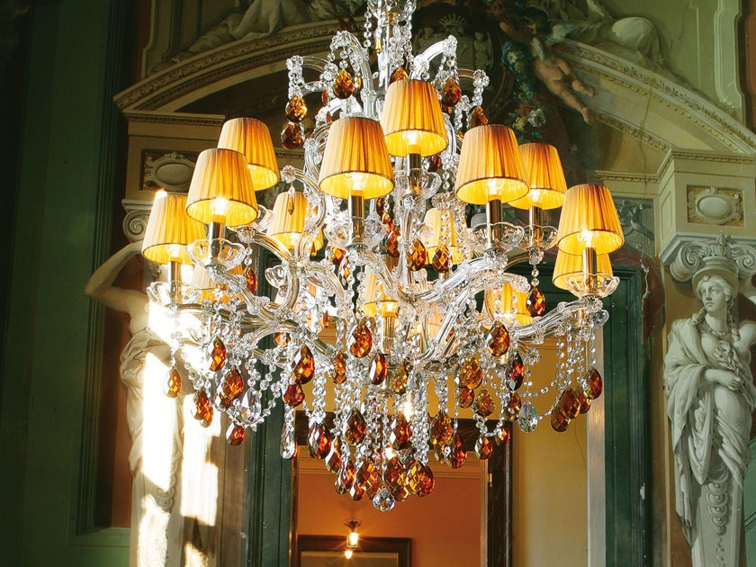 Direct light painted metal chandelier with crystals MARIATERESA VE 924 by Masiero