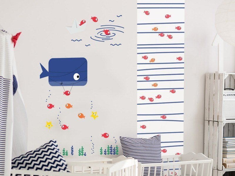 Fabric kids wallpaper MARINIERE POULPE by ACTE-DECO