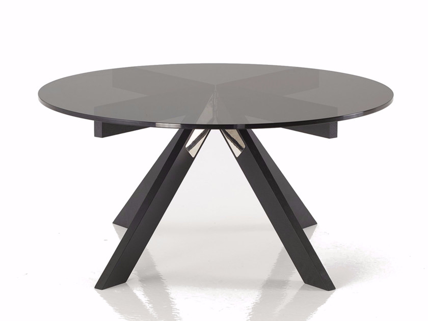 Round wood and glass coffee table MARIPOSA | Round coffee table by PER-USE