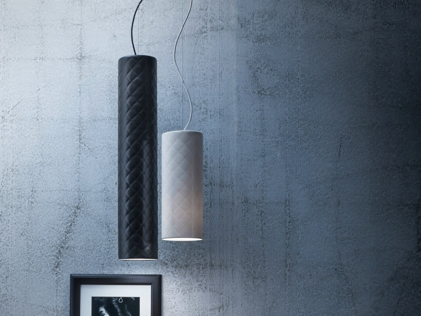 Imitation leather pendant lamp MARIÙ TUBE by Lucente