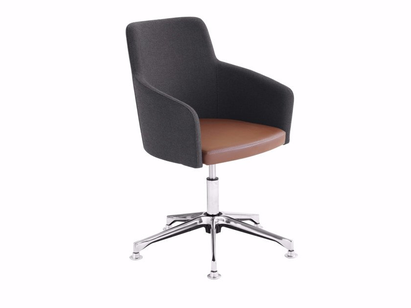Swivel upholstered easy chair with 5-spoke base Marka 569DP by Metalmobil