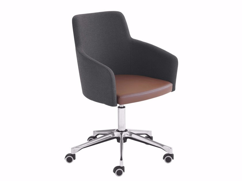 Swivel easy chair with 5-spoke base with casters Marka 569DR by Metalmobil
