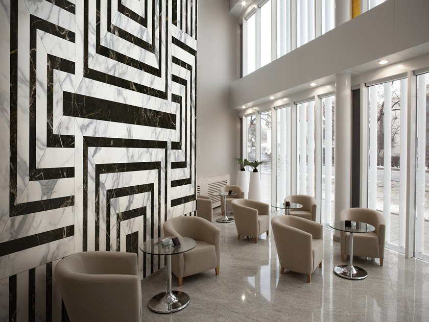 Nonwoven wallpaper with marble effect MARMARA by Tecnografica Italian Wallcoverings