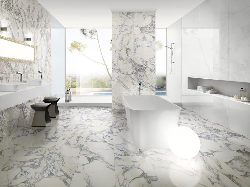 Pavimento/rivestimento in gres porcellanato effetto marmo MARMI ARABESQUE NERO by La Fabbrica