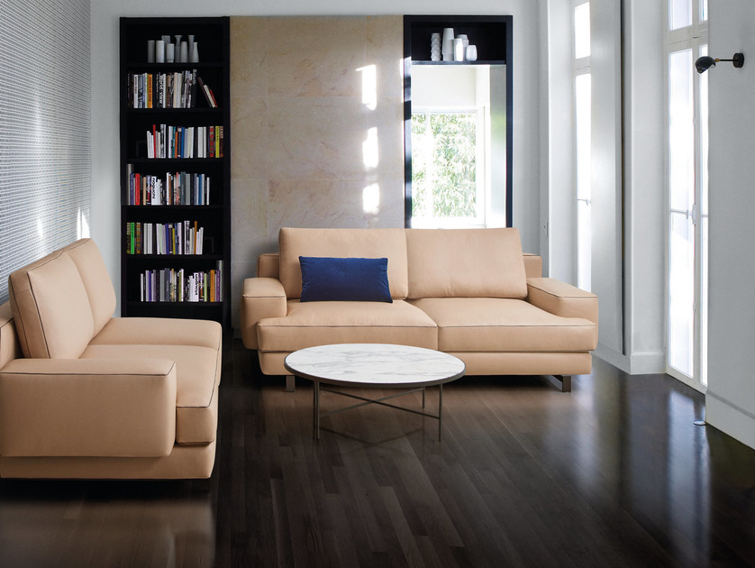 Sectional 2 seater leather sofa MARMONT | Leather sofa by Papadatos