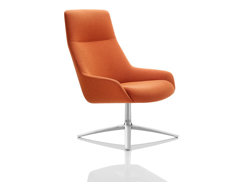 Easy chair with 4-spoke base with armrests high-back MARNIE | Easy chair with 4-spoke base by Boss Design