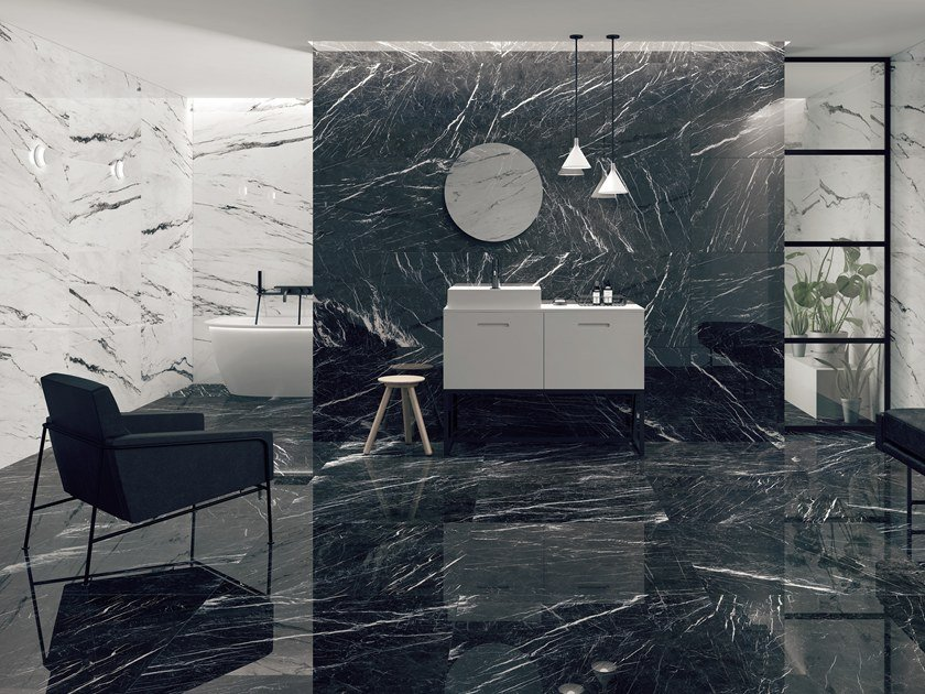 Ceramic wall/floor tiles with marble effect MARQUINA By Museum