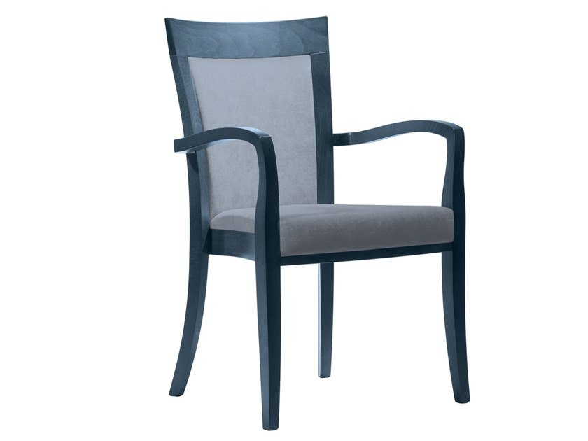 Upholstered stackable fabric chair with armrests MARTA PO01 by New Life