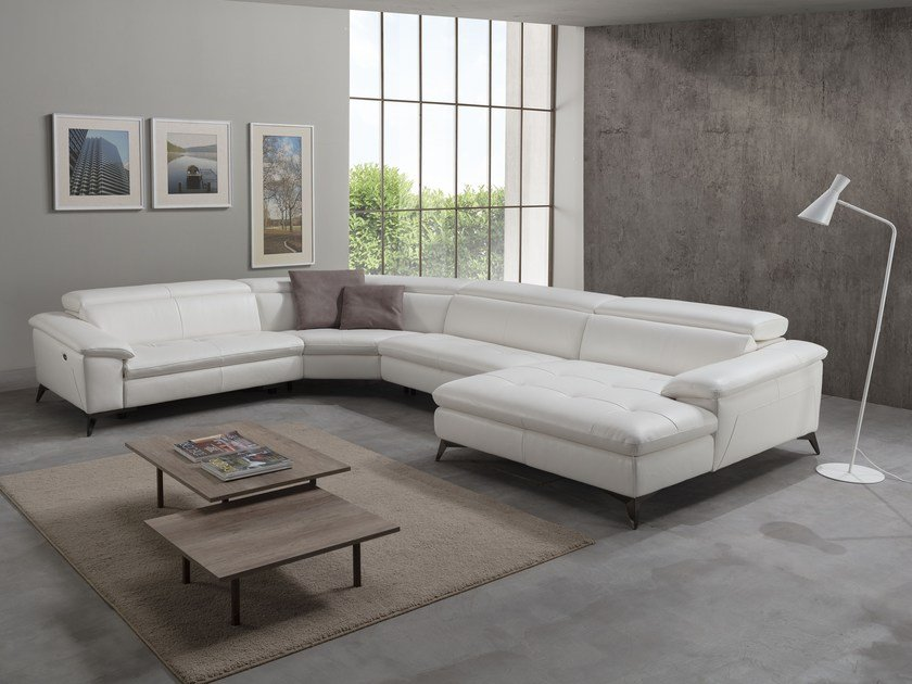Corner relaxing leather sofa with electric motion MARTINE | Corner sofa by Egoitaliano