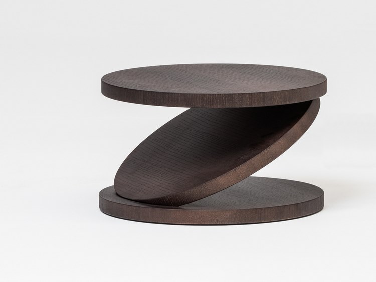 Low round multi-layer wood coffee table MATCH POINT | Low coffee table by BALERI ITALIA