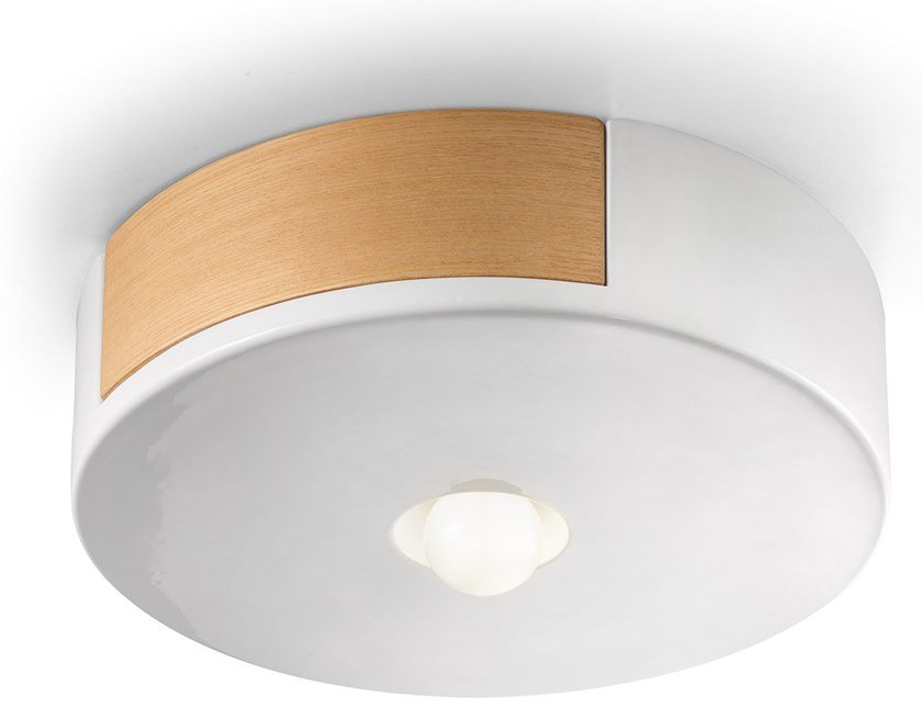 Ceramic and wooden ceiling light MATECA | Ceiling light by FERROLUCE