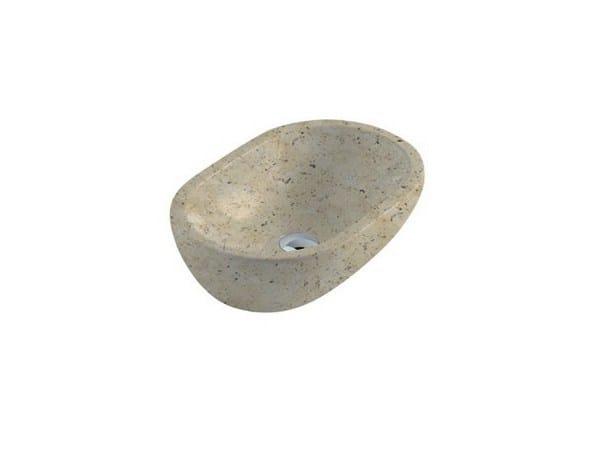 Countertop oval travertine washbasin MATERIA 54 | Travertine washbasin by GALASSIA