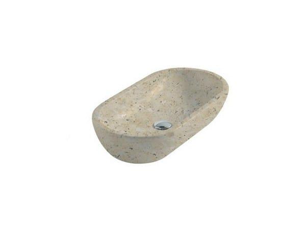 Countertop oval travertine washbasin MATERIA 70 | Travertine washbasin by GALASSIA