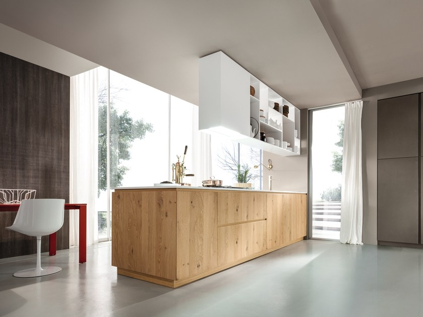 Kitchen with integrated handles with peninsula MATERIKA | Kitchen with peninsula by Pedini