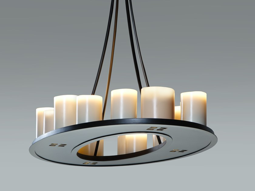 Indirect light steel pendant lamp MATH RING by Kevin Reilly Collection