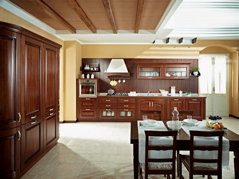 Linear solid wood fitted kitchen MATILDE by Floritelli Cucine